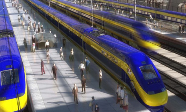 This image provided by the California High-Speed Rail Authority shows an artist